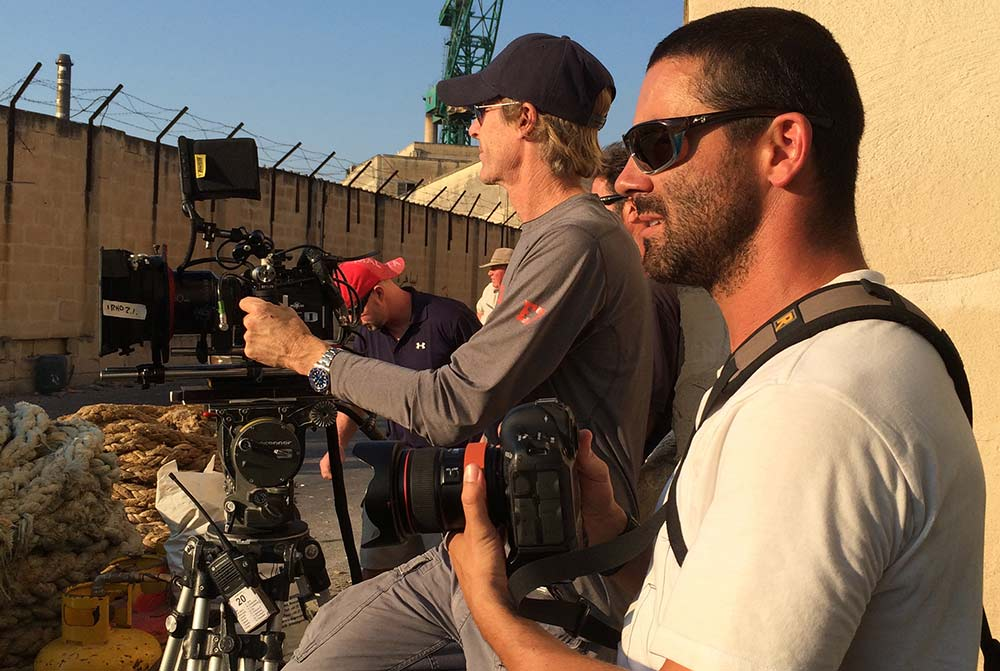 christian black shooting beside-action director micheal bay image