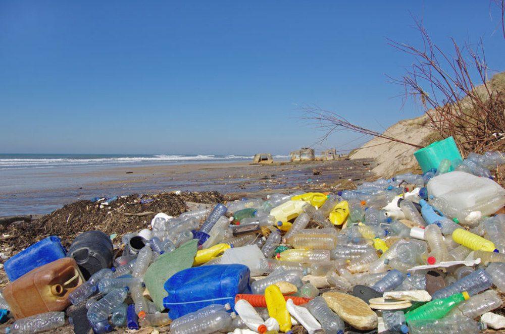 plastic on beach image